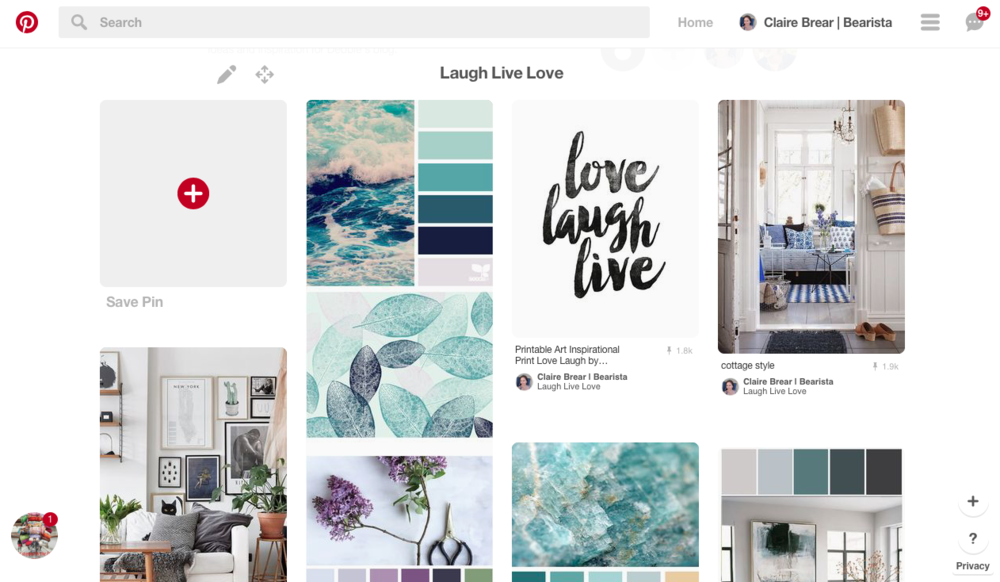 Shared (secret) Pinterest board in preparation for a lifestyle blog launch.