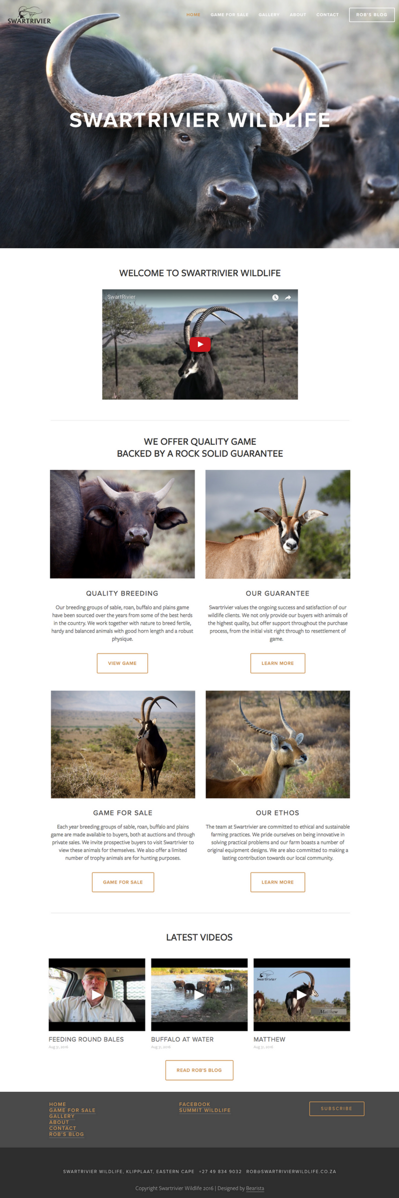 Swartrivier Wildlife's home page.