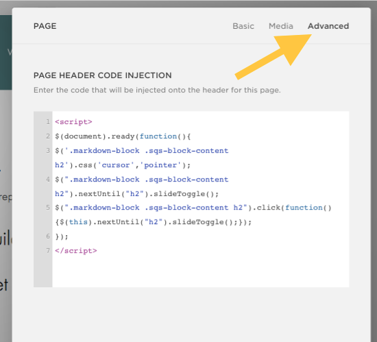 Screenshot of page settings (Advanced) where you should add the code above.