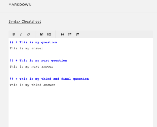 Write questions in the Markdown box