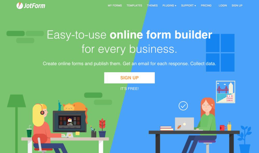 Jotform's homepage