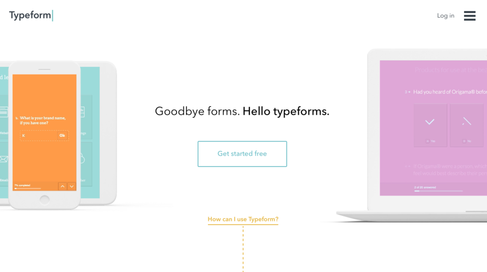 Typeform's homepage