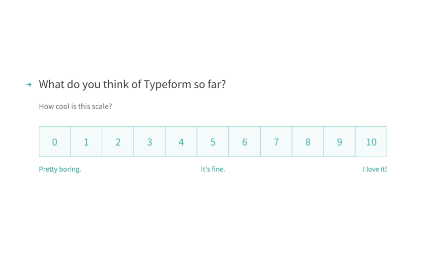Rating-type question in Typeform