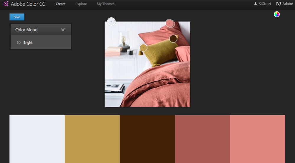 Here's an example of an image uploaded from Pinterest to Adobe Color CC. I selected a 'bright' colour mood on the top left and this is what was generated.