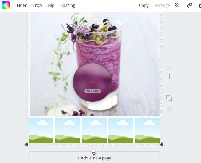 Here I'm hovering my Color Picker over the dark purple on this image of a breakfast smoothie.