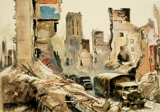 Convoy In Caen. ILLUSTRATION: CANADIAN WAR MUSEUM–AN19710261-4485