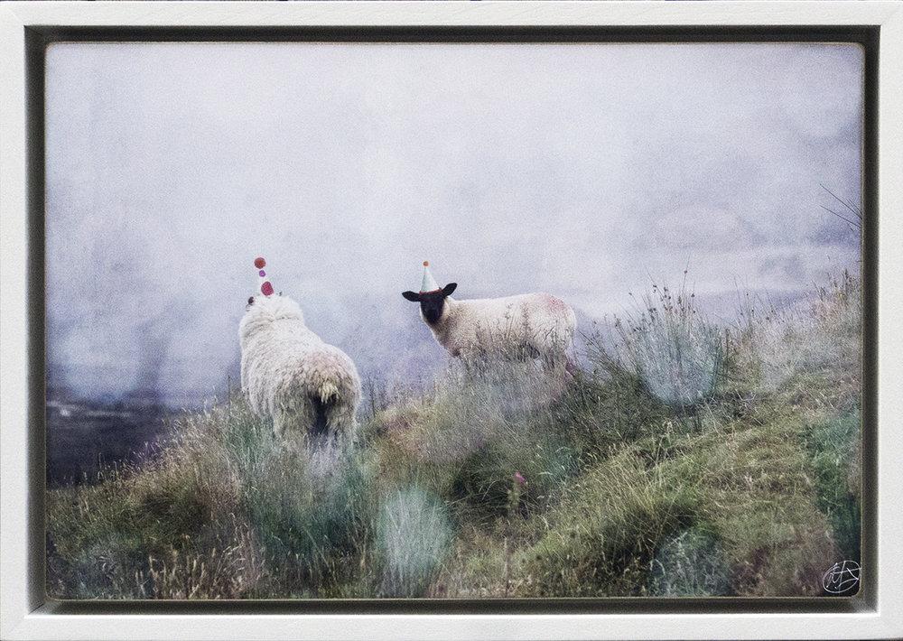 Two Sheep with Party Hats Framed.jpg