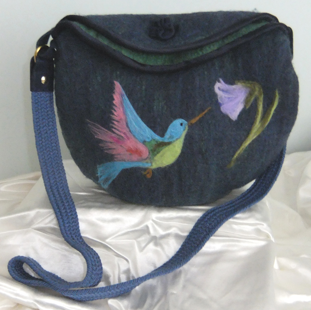 Felted bag with needlefelting embellishments. Wool and silk inspirations.JPG