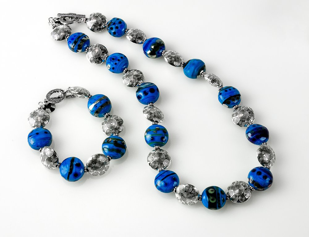 beadKRap Steel Blue Lozenges  Bracelet and Necklace.jpg