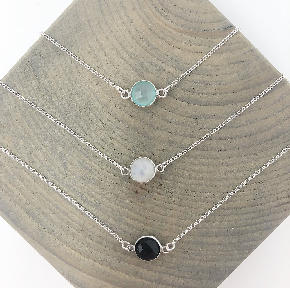 Aiyana Jewelry- Dainty Chalcedony, Moonstone, Black Onyx Sterling Silver Necklaces.jpg