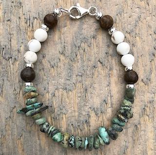 'Evolve' Bronzite, White Turquoise, African Turquoise Sterling Silver Bracelet.jpg