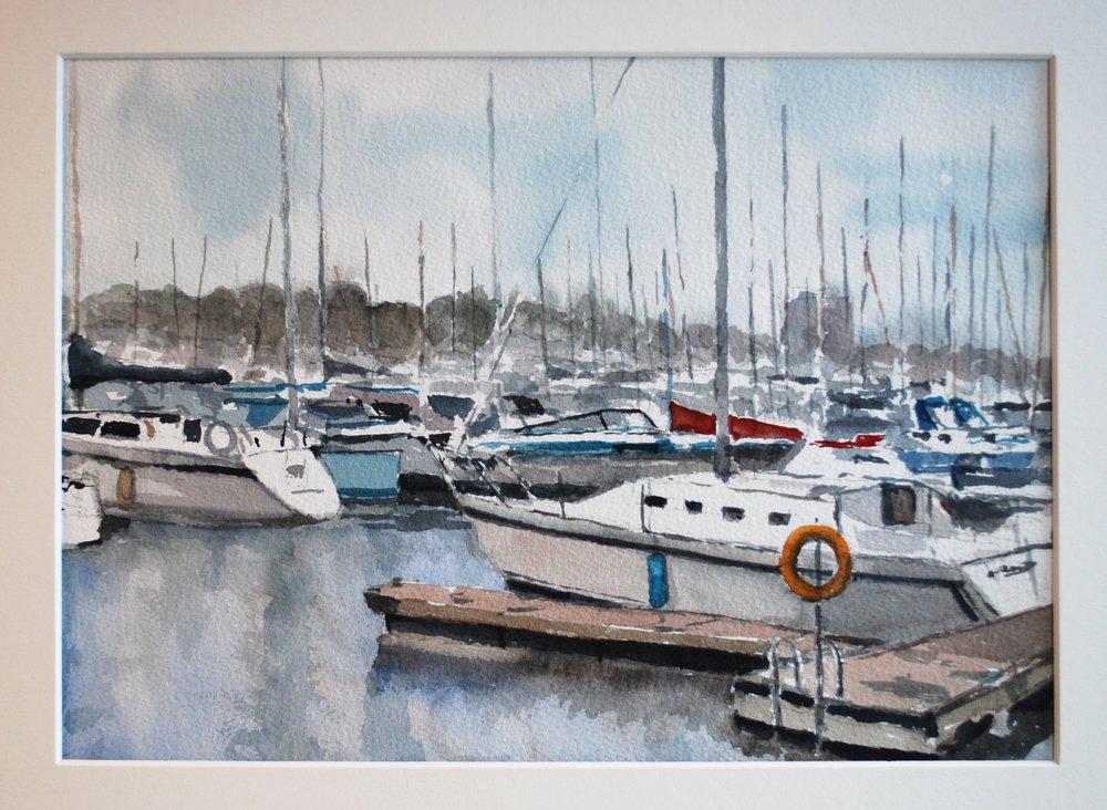 James LePage. Port Credit Yacht Club, Watercolour. Plein Air painting. 10 x 12 (1).JPG
