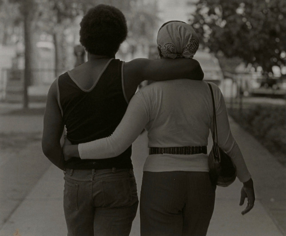 "Roy DeCarava, ""Couple walking"" (1979), Silver gelatin print, 11 x 14 in. (27.9 x 35.6 cm), Courtesy Sherry DeCarava and the DeCarava Archives, from the exhibit, 'Soul of a Nation'"