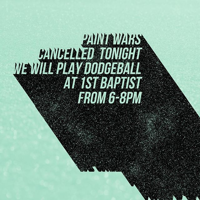 Unfortunately due to rain we are having to move dodgeball to Wednesday July 18th. We will be at 1 Baptist tonight from 6-8pm. We will play dodgeball and other games. If you need a ride arrive at 5:30 at church.