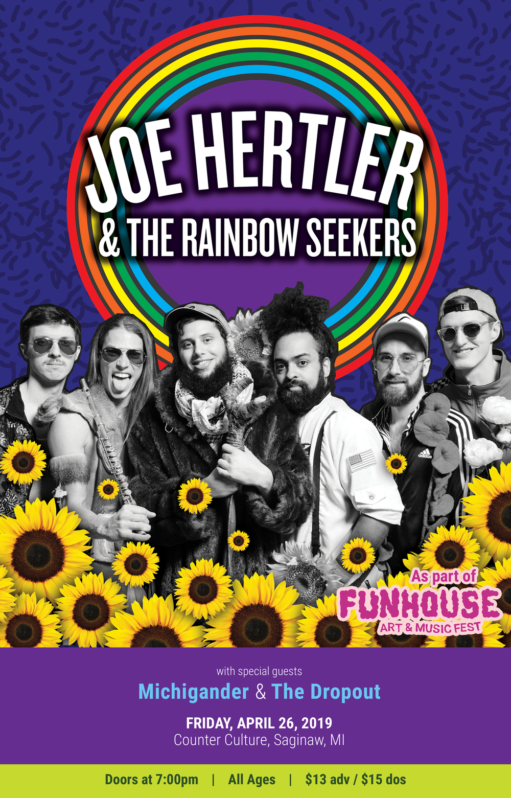 JOE HERTLER & THE RAINBOW SEEKERS - w/ Michigander, The DropoutFriday, April 26, 2019 @ Counter Culture - Saginaw, MIDoors at 7pm - All Ages - $13 adv / $15 dos