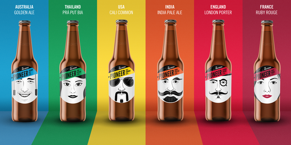 The premier range of beers, from Australia to France on the colour ways back-drop