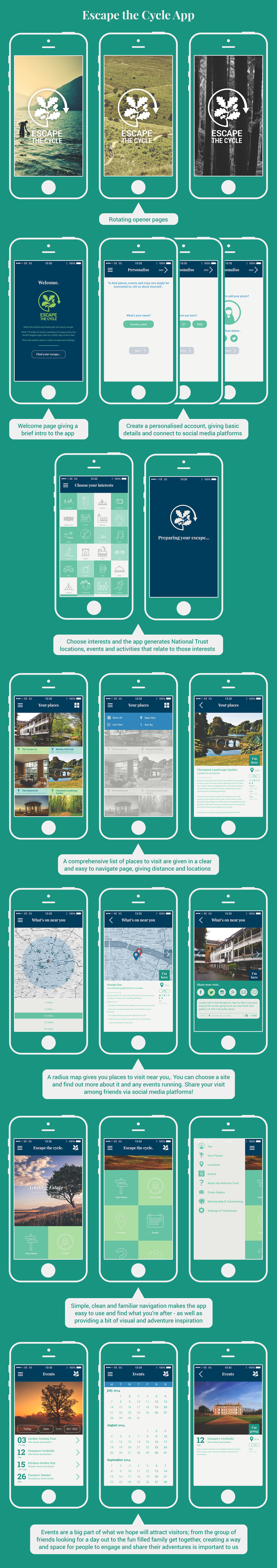 App design for the initiative, creating an easy way for potential visitors see what's going on, arrange and plan trips with friends and family as well as get lots of interesting info about the Trust