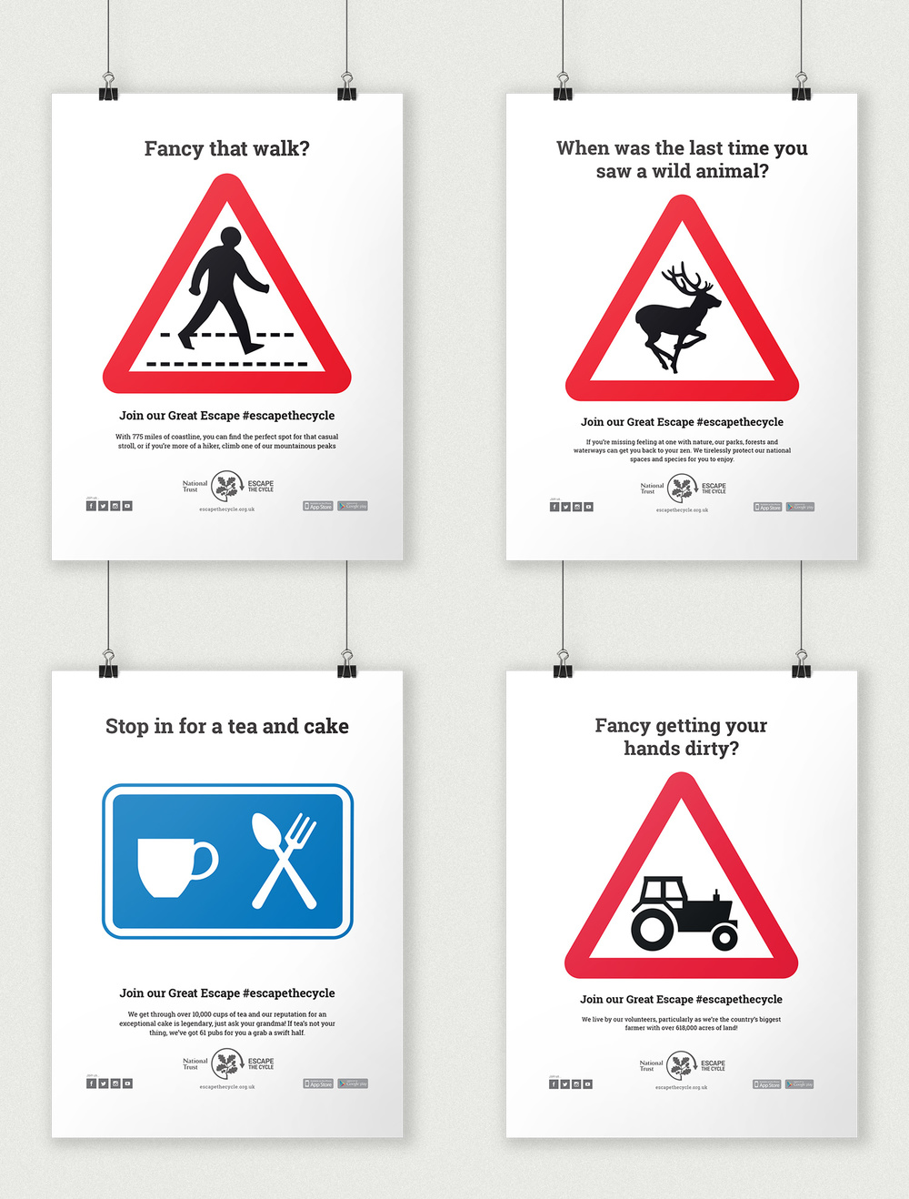 Escape the Cycle Print Signage Advertising and Marketing Campaign — D&AD National Trust