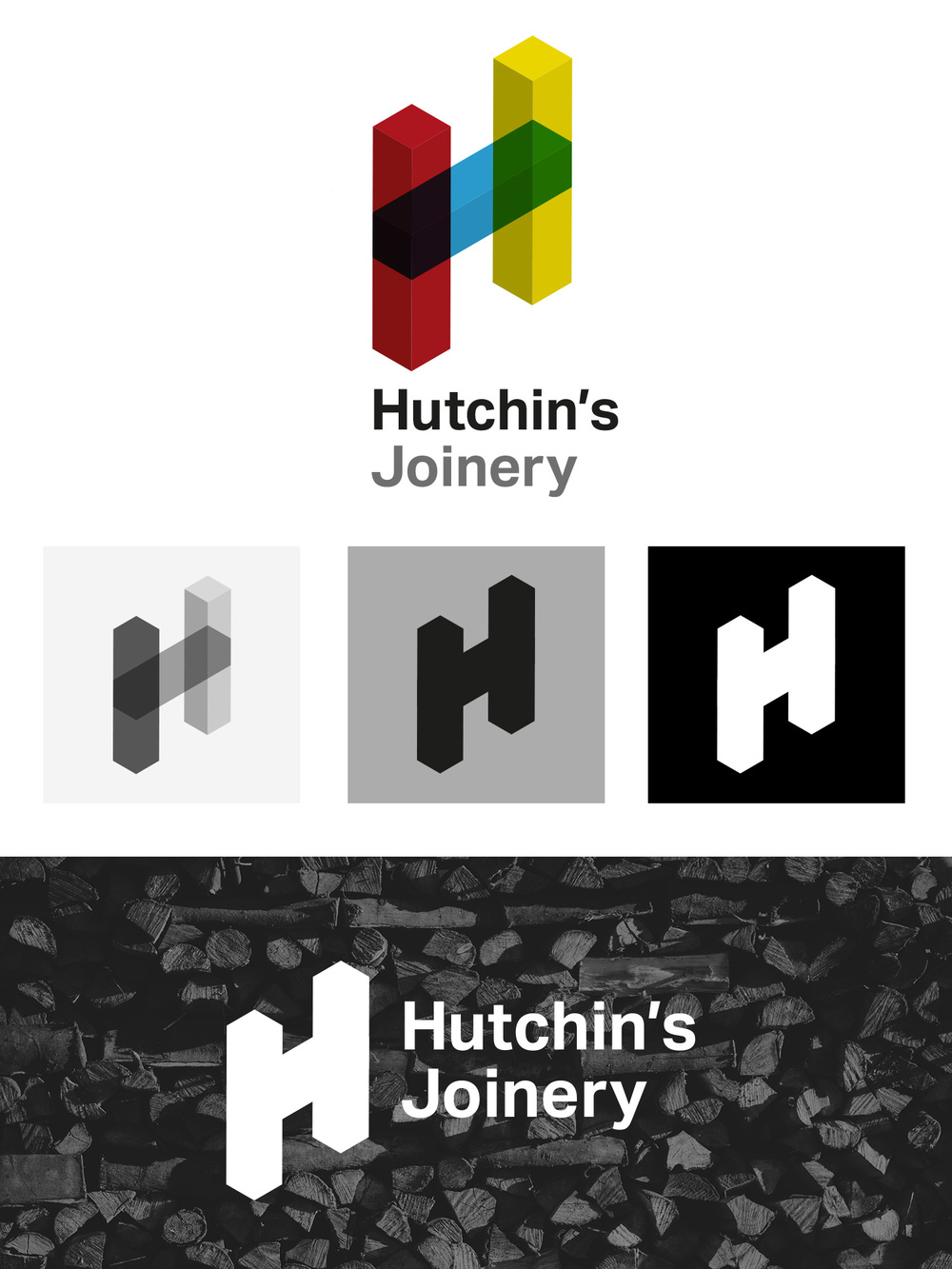 Hutchin's Joinery logo applications