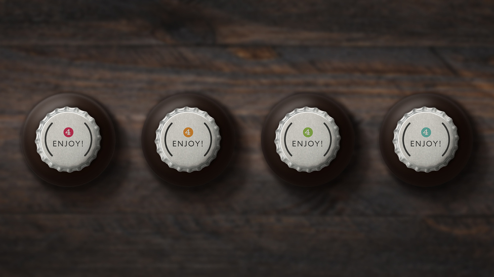 Subtly coloured caps to differentiate the different brews