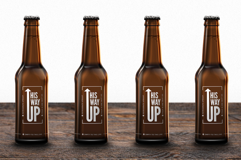 Bottle Packaging Logo Design Mockup — This Way Up Brewery Identity