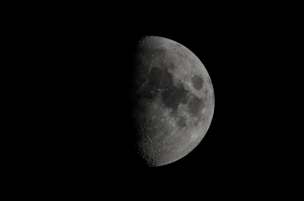Waxing Moon  Nixon D7000 ISO 100 600mm f/14 1/125 sec.