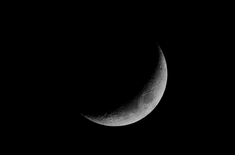 Waxing Crescent Moon  Nikon D7000 ISO 400 600mm f/11 1/250 sec