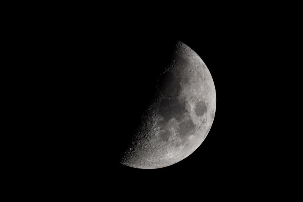 First Quarter Moon April 13 2016  Nikon D750 ISO 250 600mm f/11 1/250 sec.