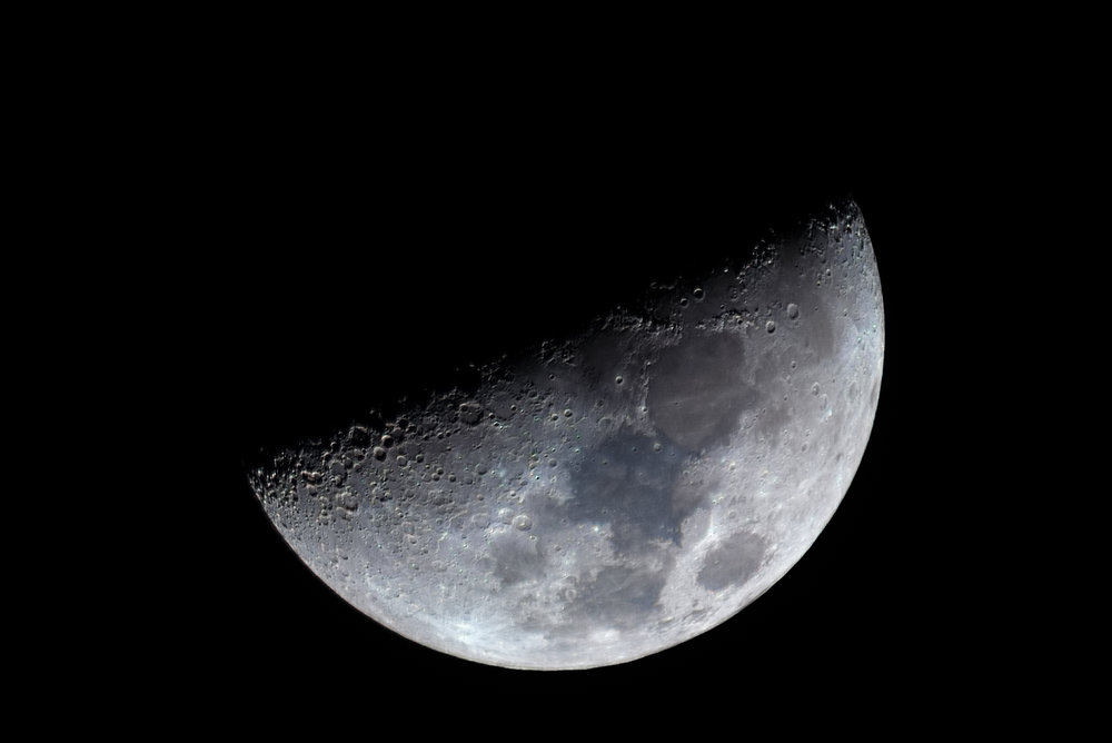 Moon Waxing Crescent in color - 6.67 days 42% illumination