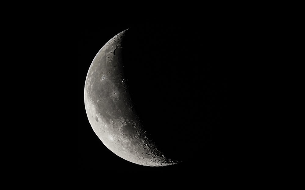 Waning Crescent Moon  - 26 days old, 13% Illuminated and 396,518 km away