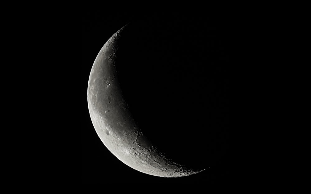 Waning Crescent Moon  - 27 days old, 7% Illuminated and 392,346 km away