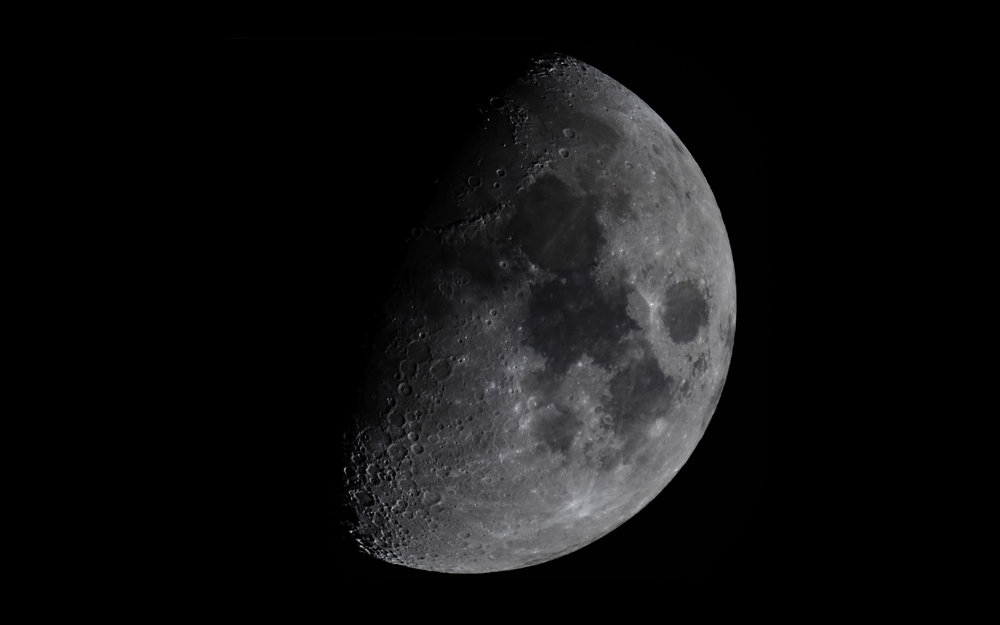 First Quarter Moon - 55% illuminated 8 days old