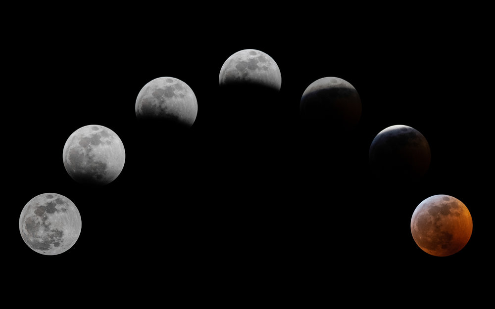 Super Blood Wolf Moon - Composite from start to totality.