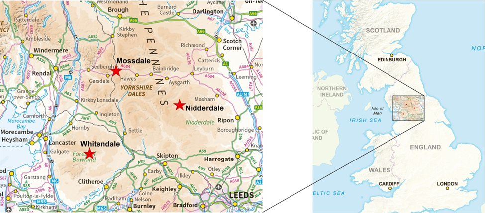 map of sites in north-west England [Maps downloaded from MiniScale®; Ordnance Survey data using the EDINA Digimap Ordnance Survey Service