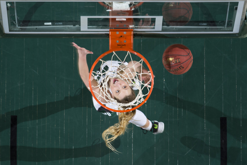 Ohio Bobcats Taylor Agler goes in for a layup during the Ohio vs Central Michigan game on February 16, 2017. Ohio lost 64-70 to CMU.