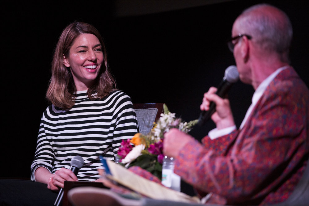 John Waters talks to Sophia Coppola about her films during the Provincetown Film Festival on June 17, 2017. Coppola was awarded Filmmaker on the Edge at this year's festival.