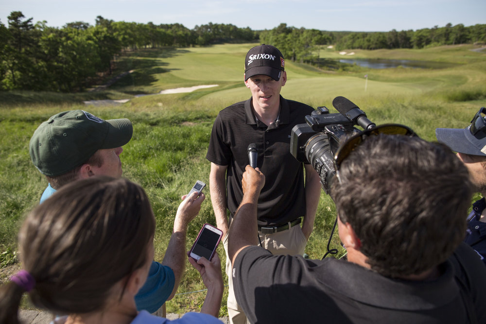 Jason Thresher talks to media after completing the course at TGC-Sacconnesset on June 14, 2017. Thresher won the Massachusetts Open for the second year in a row.
