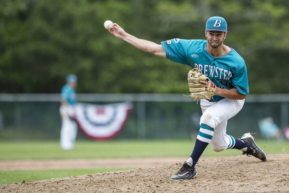 Brewster Taylor Williams pitches during the Cotuit vs Brewster doubleheader on June 18, 2017. Cotuit won the first game 4-3.