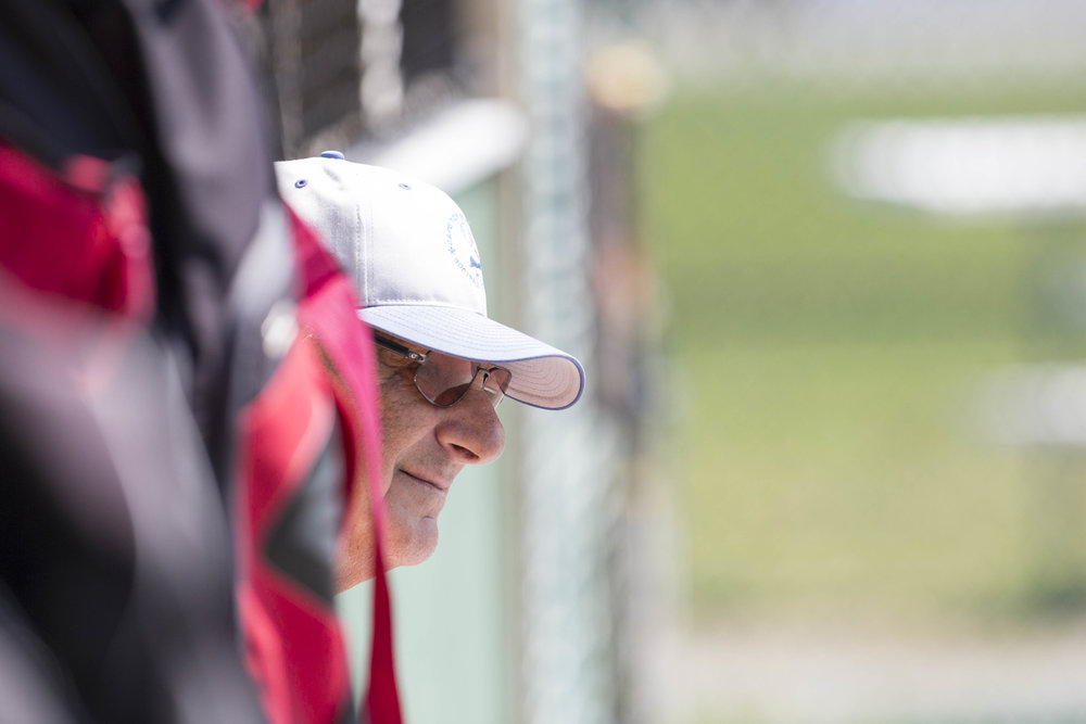 Van Khachadoorian watches the game from the dugout. Khachadoorian is the former Cape Cod Baseball League Commisioner and the oldest player in the league at 84. Khachadoorian was out for the Aggregate Industries game against Ferretti's Market due to injury on June 21, 2017.