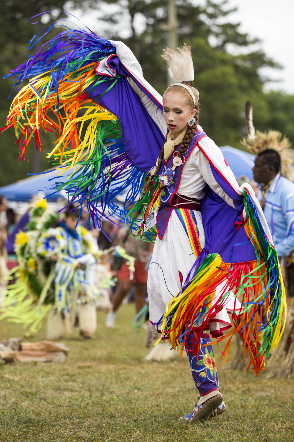 Sherente Harris of the Narragansett Tribe dances during the annual Mashpee Wampanoag powwow on July 1, 2017.