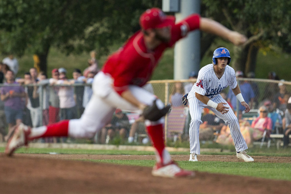 Nick Patten, of the Chatham Anglers, leads off of first base while Hogan Harris, of the Yarmouth-Dennis Red Sox, pitches to Josh Stowers, of the Chatham Anglers, during Chatham's home game against Y-D on July 3, 2017.
