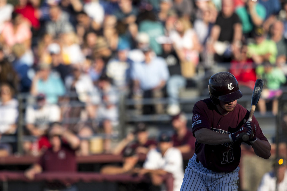 James McArthur pitches to Miles Lewis who hit a single during the Falmouth Commodores home game against the Cotuit Kettleers on July 5, 2017.