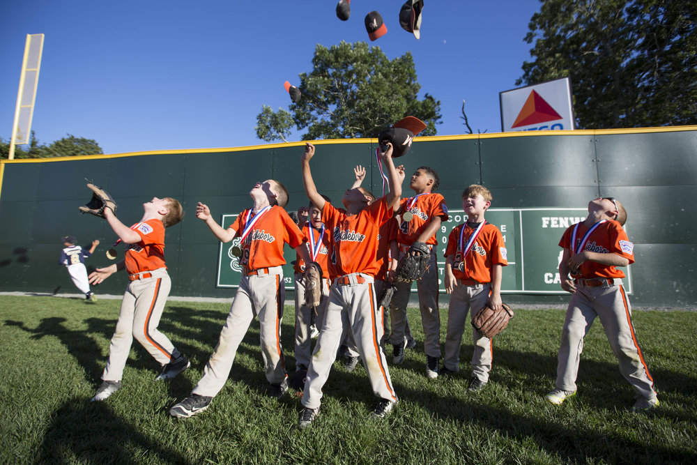 Middleboro celebrates their win over East Bridgewater in the championship game in the under-8 Jimmy Fund Little League Tournament on July 30, 2017.