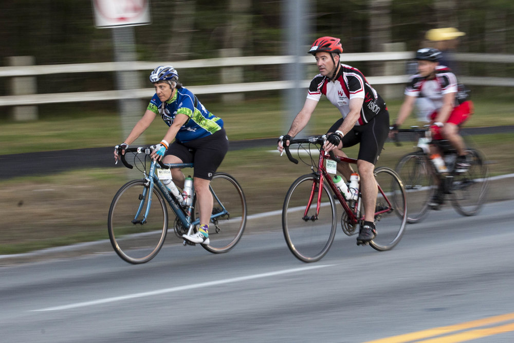 Bikers cross the Bourne Bridge on the morning of August 6, 2017 as they start the second day of the Pan-Mass Challenge.