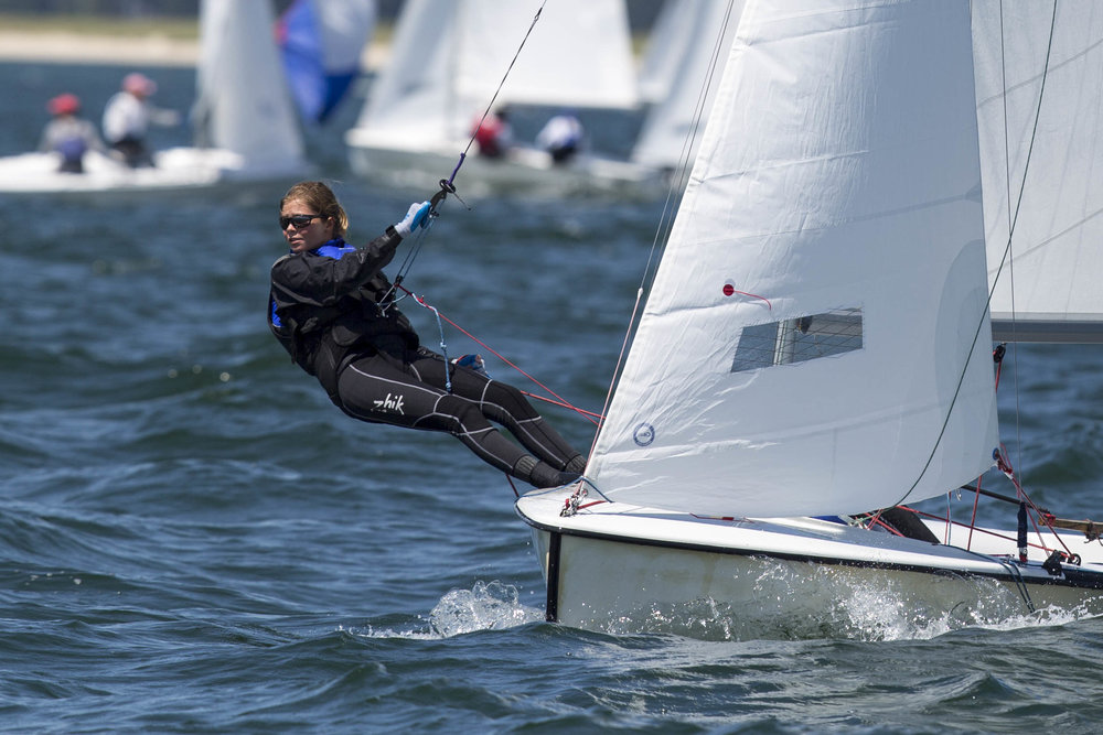 Theodora Horangic competes in the c420 sailing youth championships in Nantucket Sound out of Wianno on August 9, 2017.