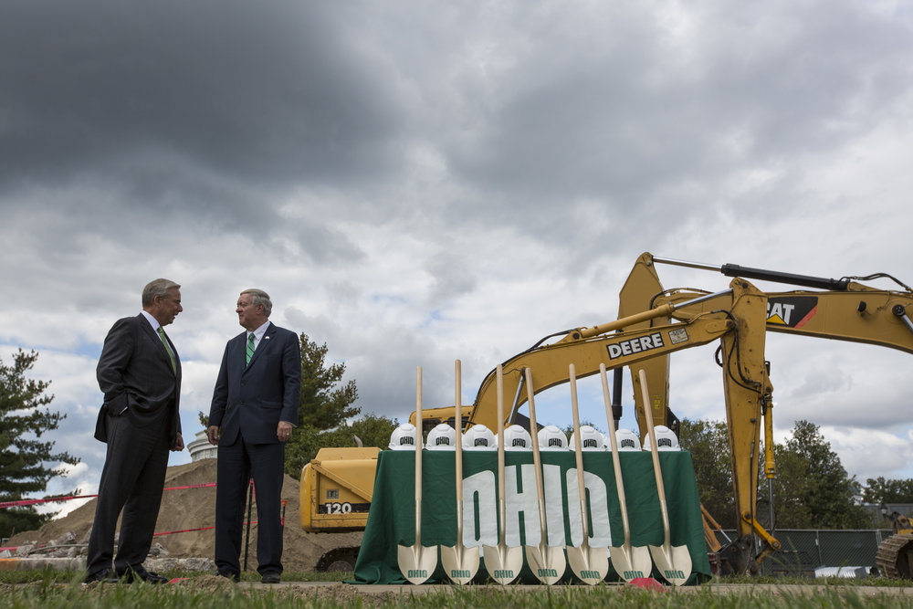 Perry Sook and Ohio University President Duane Nellis talk before the groundbreaking ceremony of the Perry and Sandy Sook Academic Center for student-athletes on September 15, 2017.