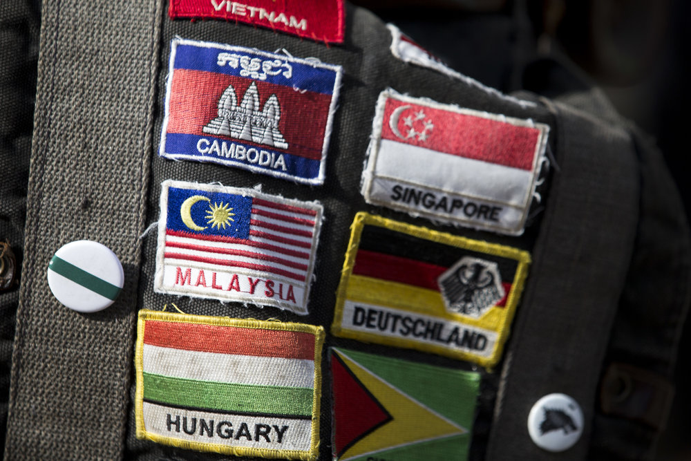 Seth Baker has a patch for every country he has visited on his backpack.