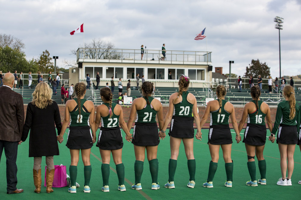 Ohio Field Hockey stands for the national anthem during senior night before their game against Ball State on October 12, 2017.