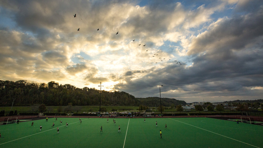 Geese fly overhead while Ohio Field Hockey plays Ball State during senior night on October 12, 2017.