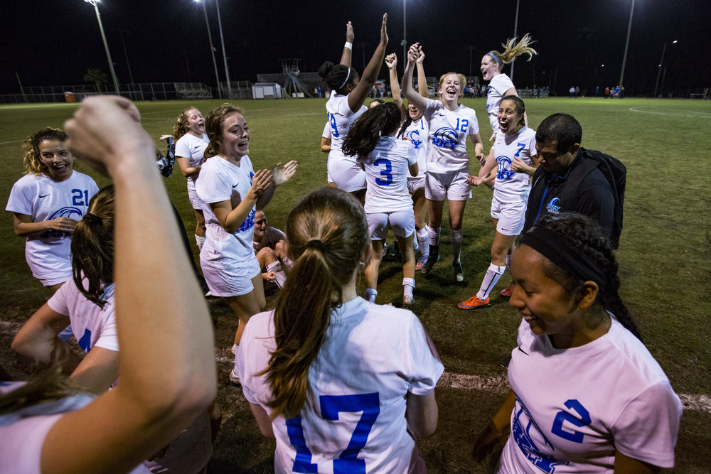 P.K. Yonge girls soccer team celebrates after their win against Mount Dora on February 6, 2018. P.K. Yonge remained undefeated after their regional quarterfinal 3-2 win over Mount Dora.